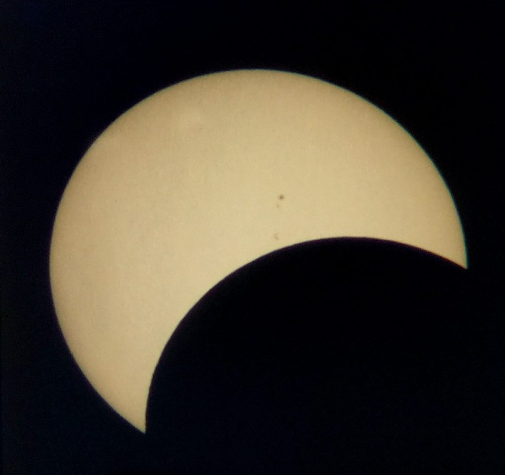Sunspots seen during eclipse August 21, 2017.